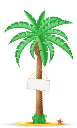 palmboom met een teken vectorillustratie vector