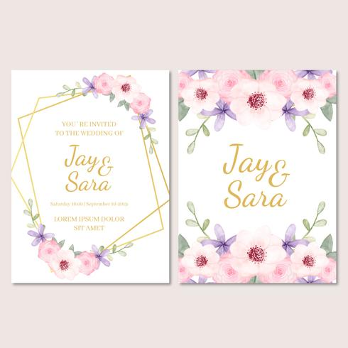 Schattig bruiloft uitnodiging sjabloon met bloemen vector