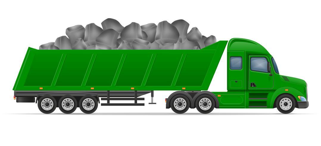 vrachtwagen oplegger levering en transport van bouwmaterialen concept vectorillustratie vector