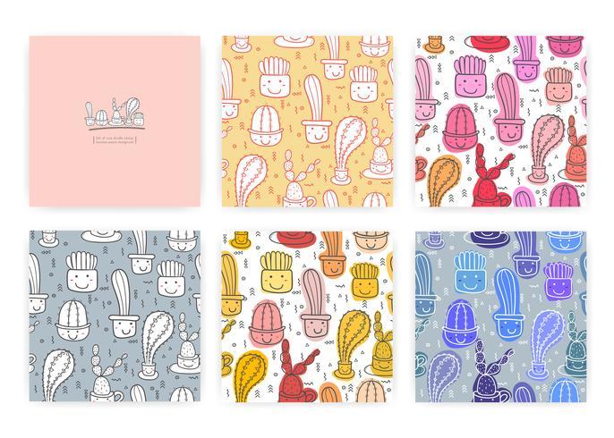 Set van schattige naadloze cactus patroon achtergrond. Vectorillustraties voor gift wrap ontwerp. vector