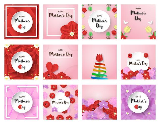Bundel sjabloonontwerp voor gelukkige moederdag. Vector illustratie in gesneden papier en ambachtelijke stijl. Decoratieachtergrond met bloemen voor uitnodiging, dekking, banner, reclame.