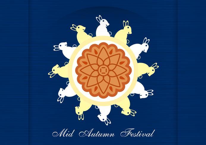 Mid Autumn Festival voor Chinese mensen in flat design. Vectorillustratie op blauwe achtergrond met maan, konijn, mooncakes. vector