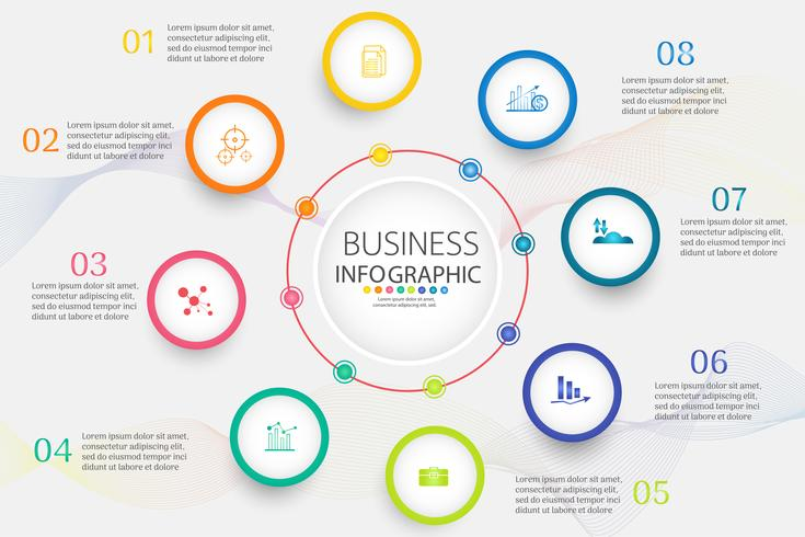 Ontwerpsjabloon Business 8 opties of stappen infographic grafiekelement vector