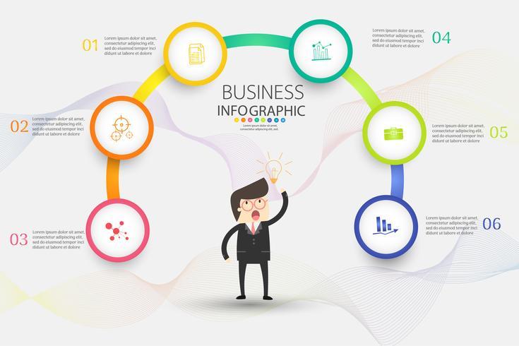 Ontwerpsjabloon Business 6 opties of stappen infographic grafiekelement vector