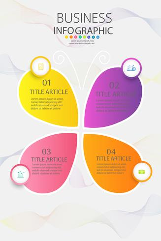 Ontwerpsjabloon Business 4 opties of stappen infographic grafiekelement vector