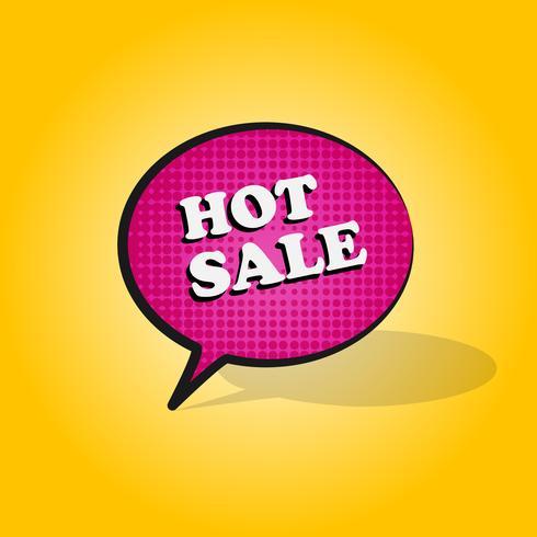 Komische roze tekstballon met expressie tekst HOT SALE op gele achtergrond. Vector heldere dynamische cartoon kleur halftone illustratie in retro popart stijl geïsoleerde banner