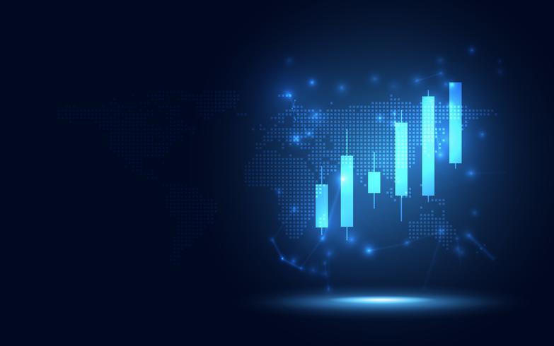 Futuristisch verhogen Kaars stok grafiek digitale transformatie abstracte zakelijke achtergrond. Big data en valutavoorraden en investeringseconomie. Vector illustratie
