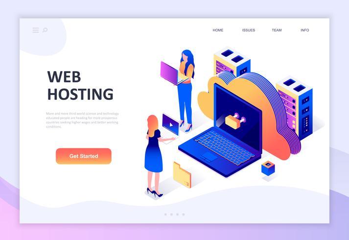 Modern plat ontwerp isometrisch concept van Web Hosting vector
