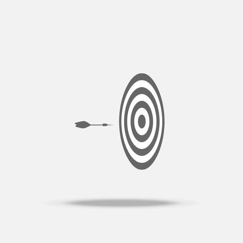Dartboard en pijl in het midden vlakke ontwerp vectorpictogram met schaduw, bedrijfsteken, doel, succesvol Business vector
