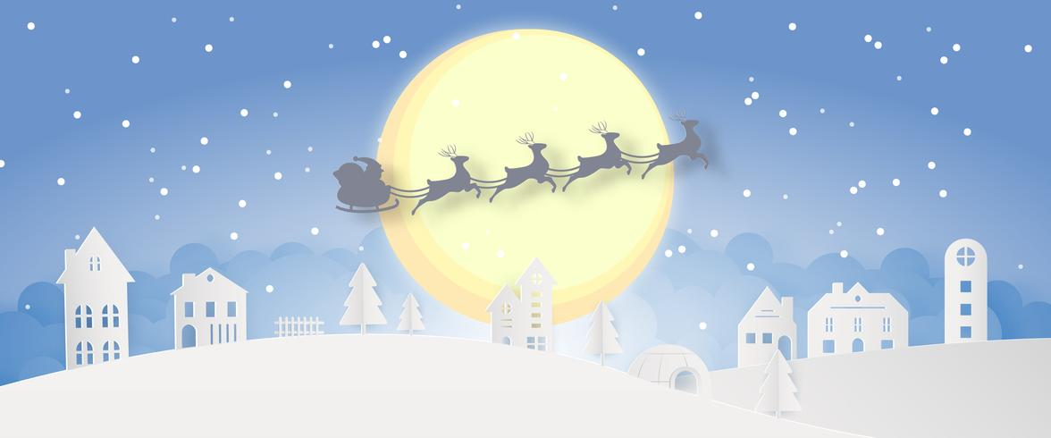 Vrolijke de dagnacht van de Kerstmis sneeuwstad en de gelukkige van het het festivaleind van het nieuwe jaar blauwe Kerstmis van de het jaarsilhouet de achtergrond van de de groetkaart van Santa Claus en van de hertendecoratie abstracte behangachtergrond. vector