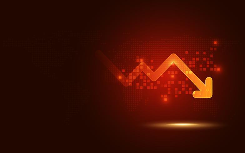 Futuristische rode signaal trend drop-down pijl grafiek digitale transformatie abstracte technologie achtergrond. Big data en bedrijfsgroei valutavoorraad en beleggingsindicator van vaste ruileconomie vector