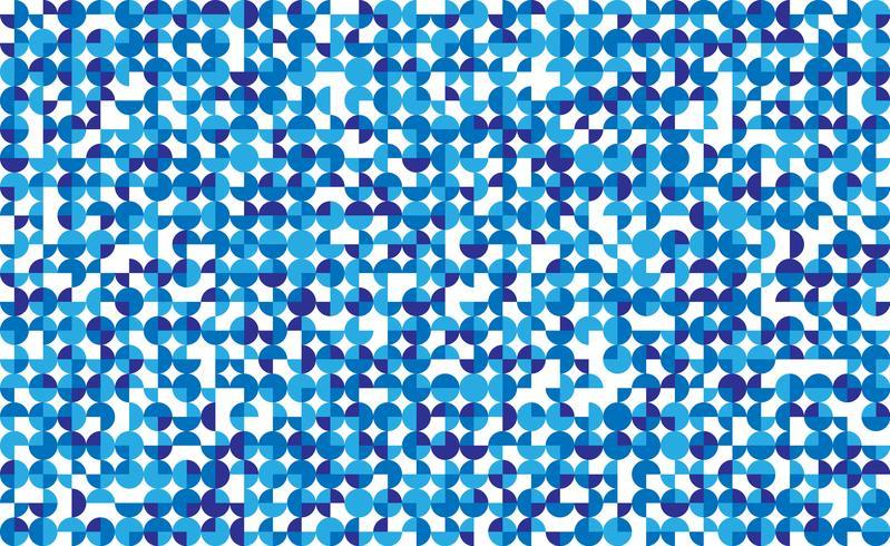 Naadloos blauw cirkelmozaïek op witte achtergrond. Vector illustratie