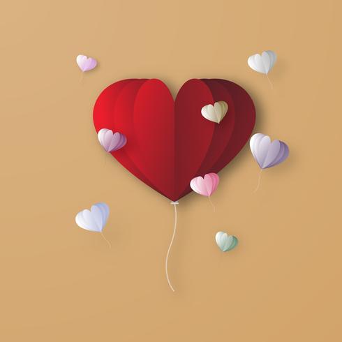 Rode hart ballon digitale papercraft grafisch ontwerp achtergrond. Valentine-liefde en paar het concept van het decoratiekunstwerk. Vector illustratie. Typografie tekstbericht voor de wenskaart.