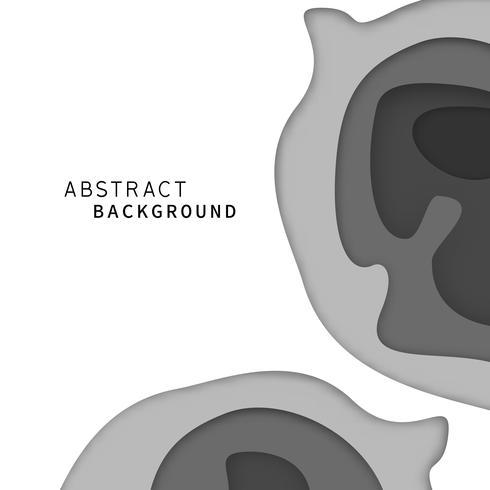 Abstracte papier kunst laag achtergrond. Zwart en wit monotone kleurenbehang. Digitaal ambachtconcept. Vector illustratie