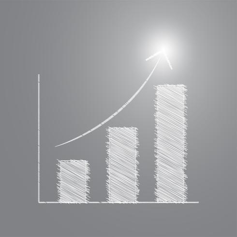 Potloodschets Staafdiagram met succesvol licht vector