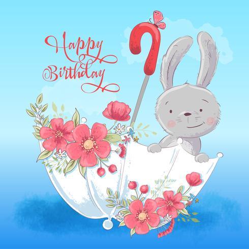 Illustratieprentbriefkaar of prinses voor de ruimte van een kind - leuk konijn in een paraplu met bloemen, vectorillustratie in beeldverhaalstijl vector