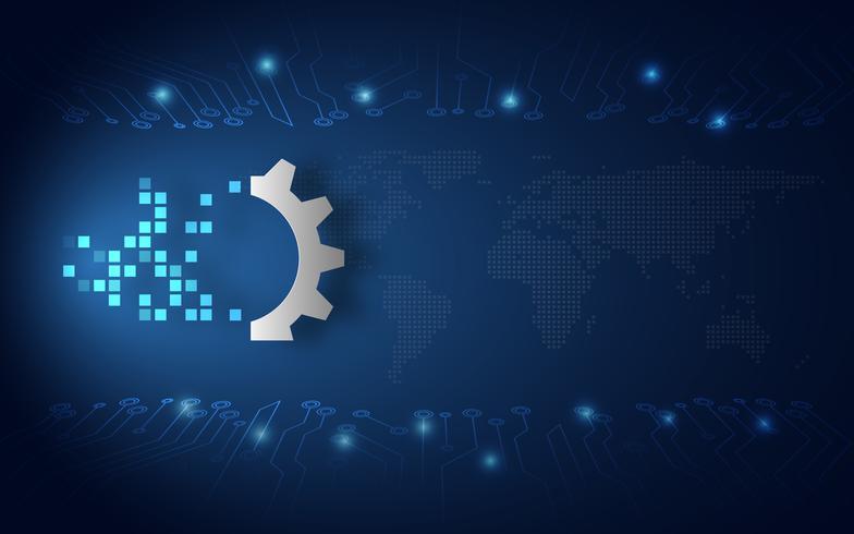 Futuristische digitale transformatie abstracte technologie blauwe achtergrond. Kunstmatige intelligentie en big data. Veranderingen in bedrijfsgroei en industrie 4.0 internet of things-concept. Vector illustratie