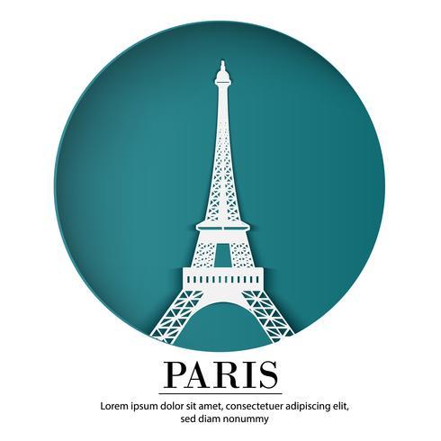 PARIJS stad van Frankrijk in digitaal ambachtdocument art. Nacht scene. Reis en bestemming landmark concept. Papercraft-bannerstijl vector