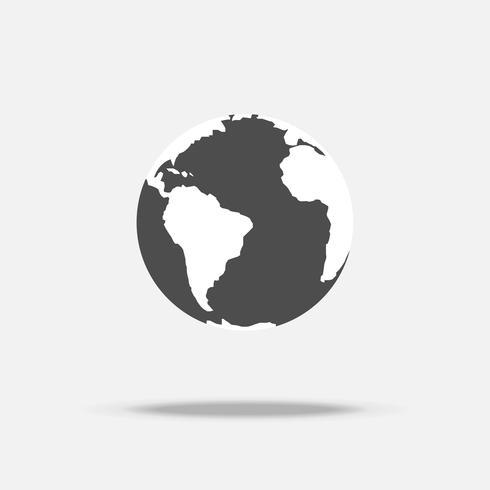 Aarde pictogram vector met schaduw