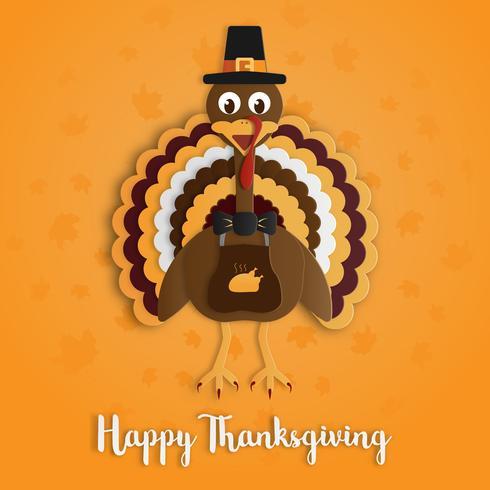 Gelukkige Thanksgiving day met het document van Turkije kunst op geeloranje achtergrond. Vakantie en festival concept. Decoratie en wenskaartthema. vector