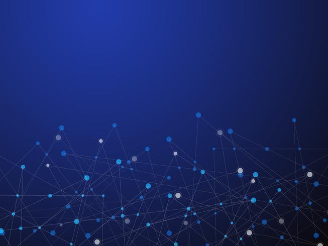 Blauwe technologie en Wetenschap abstracte achtergrond met blauwe en witte lijnpunt. Bedrijfs- en verbindingsconcept. Futuristisch en industrie 4.0-concept. Internet-cybergegevensverbinding en netwerkthema. vector