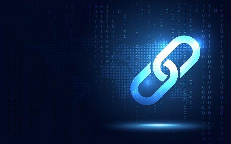 Blockchaintechnologie fintech cryptocurrency blokketenserver abstracte achtergrond. Koppelblok bevat cryptografische hash en transactiegegevens. Nieuwe futuristische systeemtechnologie teken en symbool vector