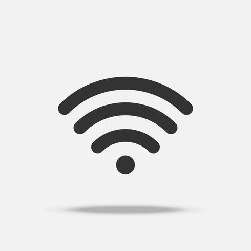 Wifi internet platte pictogram met schaduw vector
