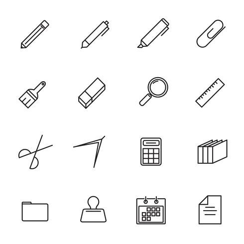 Briefpapier dunne lijn pictogrammenset vector. Terug naar school en klaslokaal van studenten. Dunne lijn en overzicht pictogramthema. Witte geïsoleerde achtergrond. vector