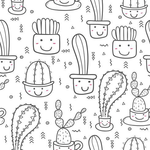 Leuke naadloze cactus patroon achtergrond. Vectorillustraties voor gift wrap ontwerp. vector
