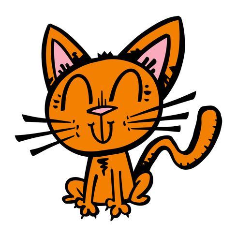 Leuke vrolijke vriendelijke cartoon kat vector