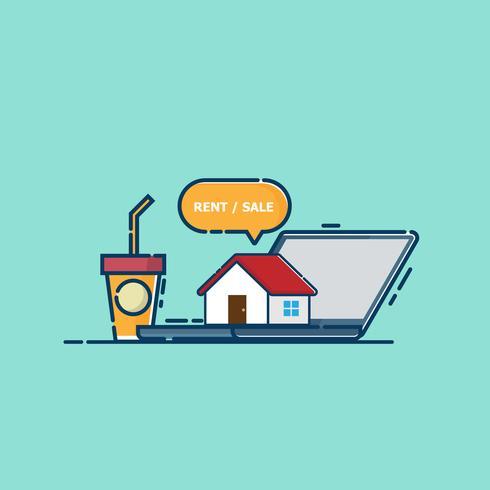 online onroerend goed concept huis op laptop vector