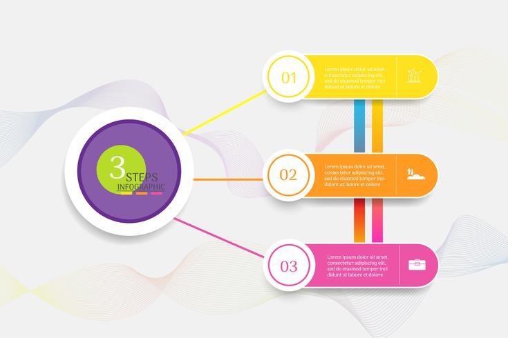 Ontwerpsjabloon Business 3 stappen infographic grafiekelement met plaatsdatum voor presentaties, Vectoreps10. vector