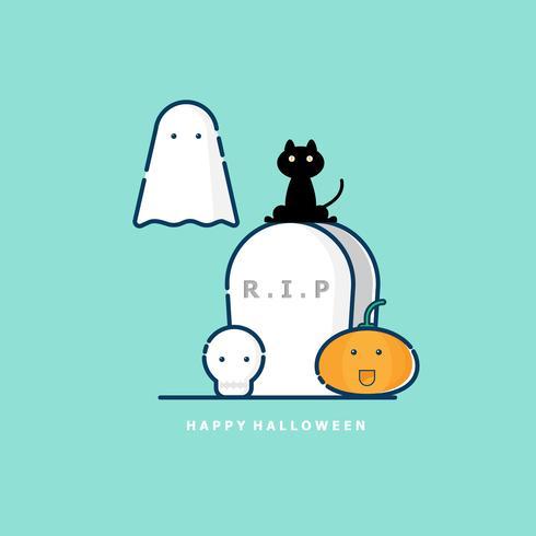 Gelukkig halloween vector plat ontwerp