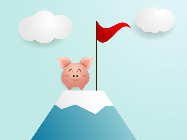 schattig varken eindigen op de top van de berg met rode vlag vector