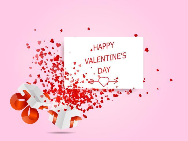 Happy Valentijnsdag harten vliegen uit witte doos vector