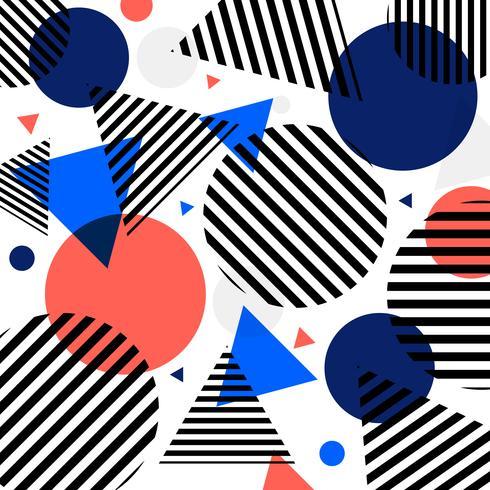 Abstracte moderne mode cirkels en driehoeken patroon met zwarte lijnen diagonaal op witte achtergrond. vector