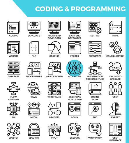 Codering en programmering concept gedetailleerde lijn pictogrammen vector