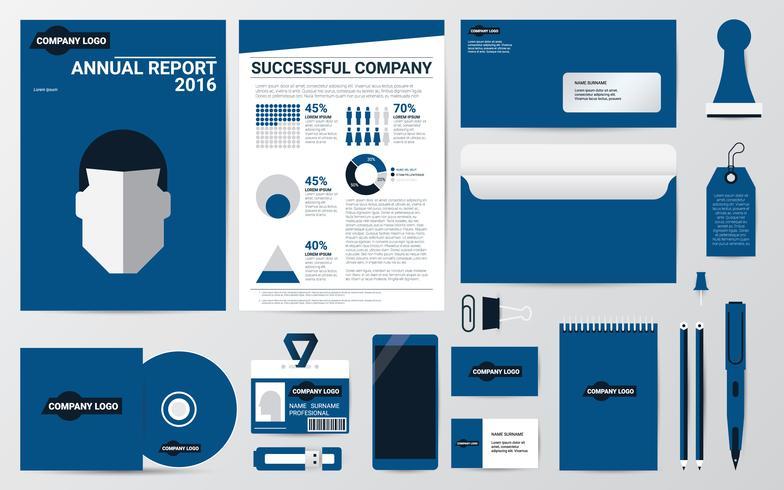 Bedrijfsidentiteit en stationair in blauwe themasjabloon vector
