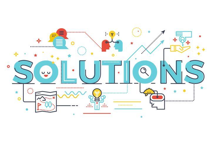 Oplossingen woord belettering illustratie vector