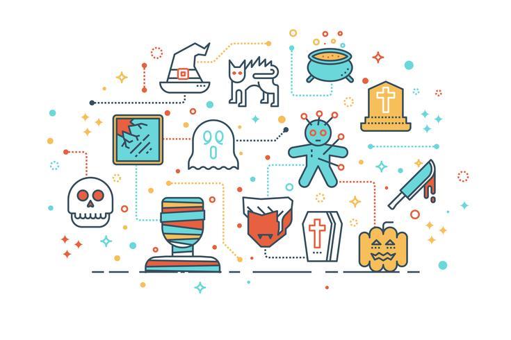 griezelig halloween spook vrienden concept vector