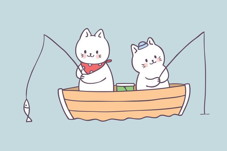 Cartoon schattige zomer kat vissen vector. vector