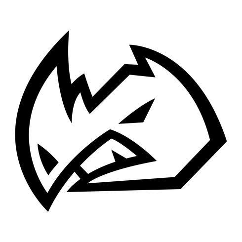 Rhino Horns Animal Cartoon vector pictogram