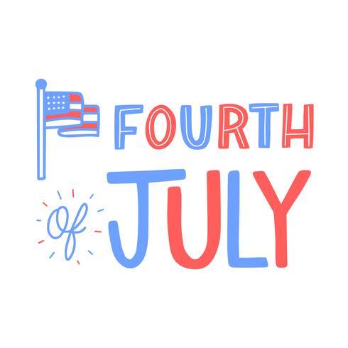 Belettering over de vierde juli met vlag vector