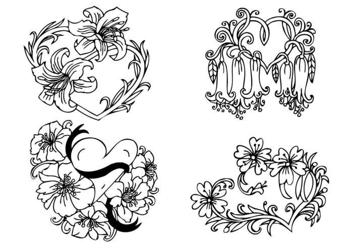 Bloemen Hart Vector Pack
