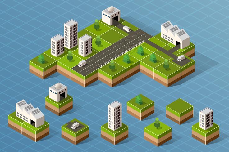 Set van isometrische stad vector