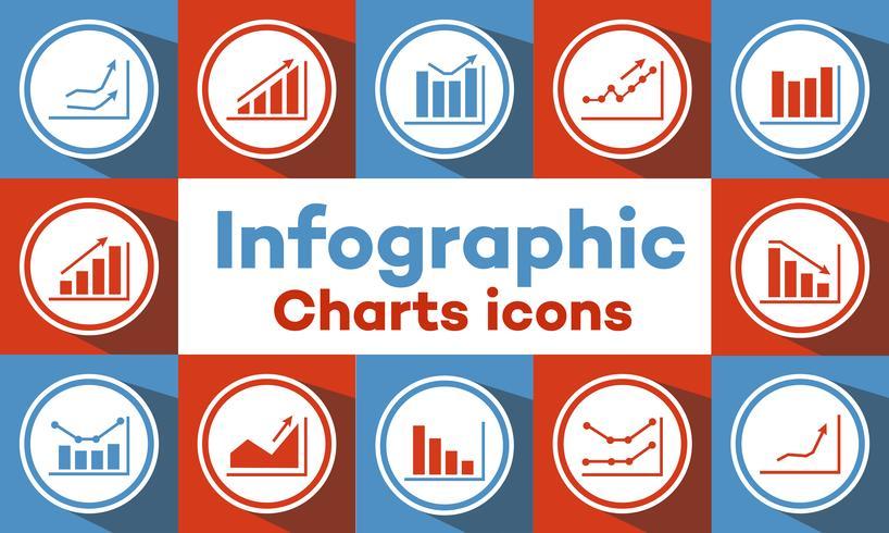 grafieken en grafieken pictogrammen vector