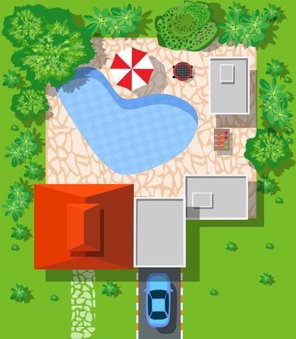 Bovenaanzicht van huizen vector