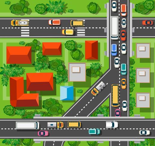 Bovenaanzicht van de stad vector