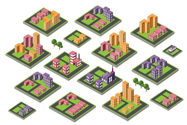 set van pictogrammen isometrische huis vector