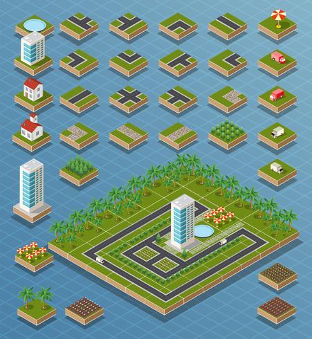 Isometrische stad ingesteld vector